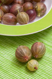 Gooseberries in a green plate Royalty Free Stock Images