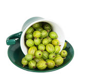 Gooseberries in an inverted green cup Royalty Free Stock Images