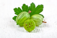 Gooseberries with leaves Stock Photo