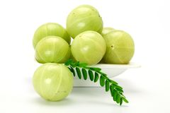 Gooseberries in a white bowl Royalty Free Stock Photo