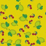 Gooseberry and cherry cartoon seamless texture 650 Royalty Free Stock Photos