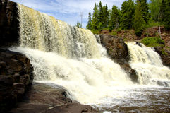 GooseBerry Falls. Twin Waterfalls in Minnesota Stock Images