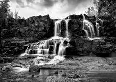 Gooseberry Falls Black and White in the Rain5. Lower Gooseberry Falls Along Minnesota's North Shore in Black and White in the Rain Stock Photos