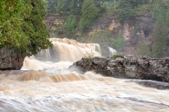 Gooseberry Falls State Park Minnesota. Gooseberry Falls State Park along the North Shore of Lake Superior in Minnesota on a misty day Stock Photos