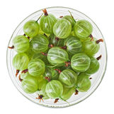 Gooseberry fruits in transparent glass, isolated Royalty Free Stock Photos