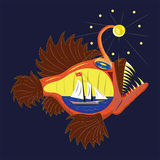 Goosefish e navio. ilustração stock