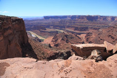 Dead Horse Point. Gooseneck on Dead Horse Point Overlook. Colorado River cutting through becomes Meander Canyon royalty free stock images