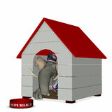 GOP - Doghouse 1. Republican represented by an elephant looking out of a doghouse with a red roof Royalty Free Stock Photos