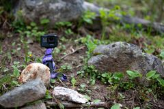 GoPro坐一个岩石在森林里 免版税库存照片