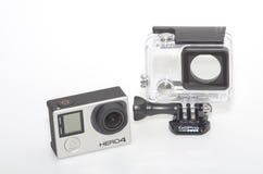 GoPro 4和能潜航住房 免版税库存照片
