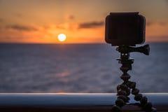 GoPro camera taking time lapse of sunrise. Sunrise with the GoPro camera Royalty Free Stock Photography