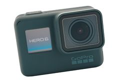 GoPro HERO 6 Black isolated. RIGA, LATVIA - NOVEMBER 25, 2017: GoPro HERO 6 Black. Supports 4k Ultra HD video up to 60 fps and 1080p up to 240 fps. Brand new royalty free stock photos