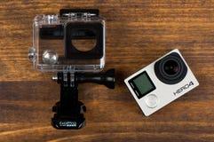 GoPro HEro 4 Black. NOVI SAD, SERBIA - JUNE 19, 2016: GoPro Hero 4 Black waterproof action camera announced in september 2014 captures slow motion at up to 240 royalty free stock images