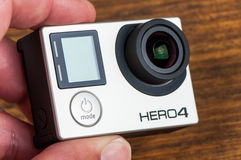 GoPro HEro 4 Black. NOVI SAD, SERBIA - JUNE 19, 2016: GoPro Hero 4 Black waterproof action camera announced in september 2014 captures slow motion at up to 240 royalty free stock image