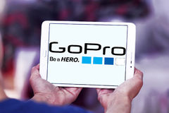 Gopro logo. Logo of camera manufacturer gopro on samsung tablet Stock Photography