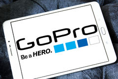 Gopro logo. Logo of camera manufacturer gopro on samsung tablet Stock Images