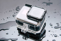 GoProheld 5 actiecamera in waterdicht geval Royalty-vrije Stock Afbeeldingen