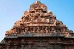 Gopura adornado, capilla de Deivanayaki Amman, adyacente al templo de Airavatesvara, Darasuram, Tamil Nadu Visión desde el oeste Fotografía de archivo libre de regalías