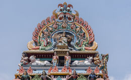 Gopuram crown at Shiva temple in Kottaiyur stock image