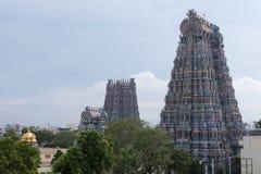 Gopuram do norte e o ocidental do templo de Meenakshi Fotografia de Stock