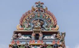Gopuram krona på den Shiva templet i Kottaiyur fotografering för bildbyråer