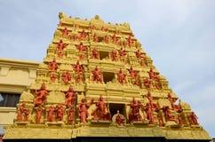 Gopuram pagod av den hinduiska templet Ceylon Rd Singapore för Sri Senpaga Vinayagar tamil Arkivbilder