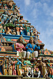 Gopuram (tower) of Hindu temple Royalty Free Stock Images
