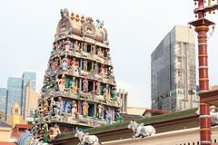 Gopuram tower of Sri Mariamman Temple in Singapore Stock Images