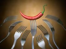Gorący chili pieprz wtykający na rozwidleniu differents rozwidlenia, rywalizacja, unikalny wokoło, indywidualność i nagrody pojęc royalty ilustracja