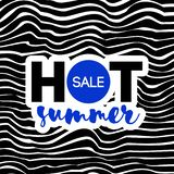 Gorący lato sprzedaży tekst na falistym tle Elegancki nowożytny projekt zdjęcia stock