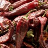 Gorący wysuszeni czerwonych chillies pieprze, zakończenie w górę wizerunku zdjęcia stock