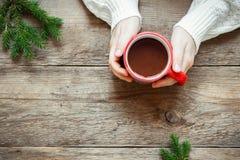 Gorąca czekolada w rękach Zdjęcie Royalty Free