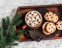 Gorąca czekolada z marshmallows i czekoladowych układów scalonych oatmeal ciastkami na drewnianej tacy Obrazy Stock