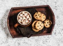 Gorąca czekolada z marshmallows i czekoladowych układów scalonych oatmeal ciastkami na drewnianej tacy Zdjęcia Stock