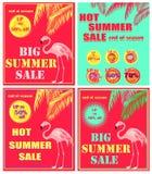Gorąca czerwień rabata plakatów różnica z gorącym lato sprzedaży literowaniem, oferty etykietką, abstrakcjonistycznym słońcem, pa ilustracja wektor
