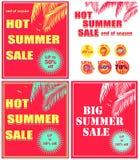 Gorąca czerwień rabata plakatów różnica z gorącym lato sprzedaży literowaniem, oferty mennicy koloru etykietką, palma liśćmi i se royalty ilustracja