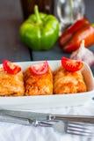 Gorąca faszerująca kapusta z mięsa i pomidorów kniaź kuchnią Zdjęcia Royalty Free