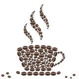 Gorąca filiżanka kawy z fasola wzorem Fotografia Royalty Free