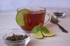 Gorąca herbata z wapnem w filiżance Zdjęcia Stock