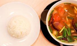 Gorąca i kwaśna polewka z ryż Obrazy Stock