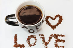 Gorąca kawa robić z miłością Zdjęcie Royalty Free