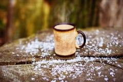 Gorąca kawa w parku śnieg Zdjęcie Royalty Free