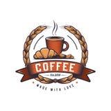 Gorąca kawa z croissant loga retro projektem Rocznika co sklep z kawą odznaka royalty ilustracja