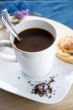 Gorąca kawowa biała filiżanka fotografia stock