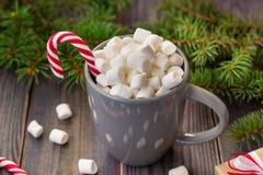 Gorąca kawowa czekolada z marshmallow na nieociosanym drewnianym stołowym tle, cukierek trzcin prezenta pudełek jedlinowy drzewo Zdjęcie Royalty Free