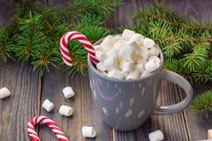 Gorąca kawowa czekolada z marshmallow na nieociosanym drewnianym stołowym tle, cukierek trzcin prezenta pudełek jedlinowy drzewo Obraz Stock