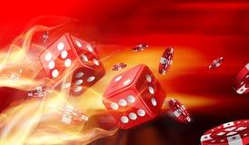 Gorąca kostka do gry gra i Uprawiać hazard układów scalonych latać Obrazy Royalty Free