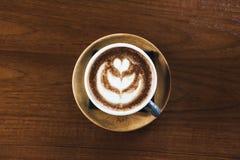 Gorąca mokka z latte sztuką Zdjęcie Royalty Free