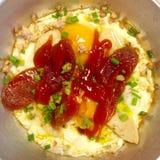 gorąca niecka smaży jajecznego materiał Zdjęcia Stock