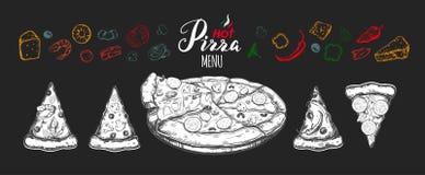 Gorąca pizza ustawiająca z składnikami i różnymi typ pizza plasterki 1 Royalty Ilustracja